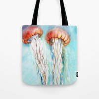 jelly fish Tote Bags featuring Jelly Fish  by Felicia Cirstea