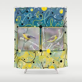 Little Yellow Birds (Lesser Goldfinches) Shower Curtain