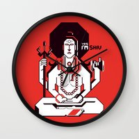 shiva Wall Clocks featuring Shiva by Tshirtbaba