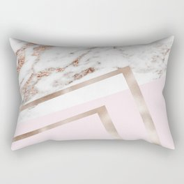 Geometric marble - luxe rose gold edition I Rectangular Pillow