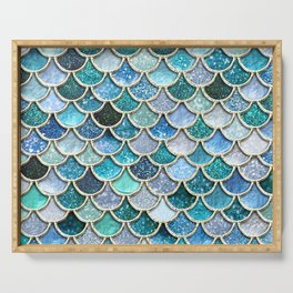 Multicolor Aqua Mermaid Scales - Beautiful Abstract Glitter Pattern Serving Tray