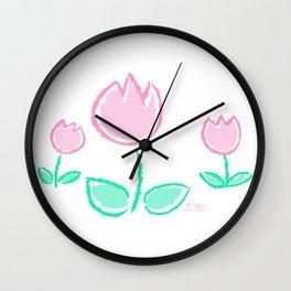 Crayon Tulips - Pastel Cute Kawaii Flower Tulip Baby Nursery Art Wall Clock