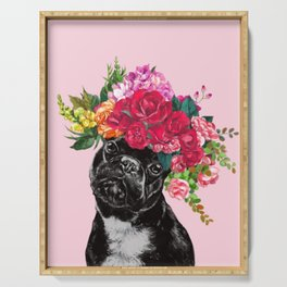 Rose Flower Crown French Bulldog in Pink Serving Tray