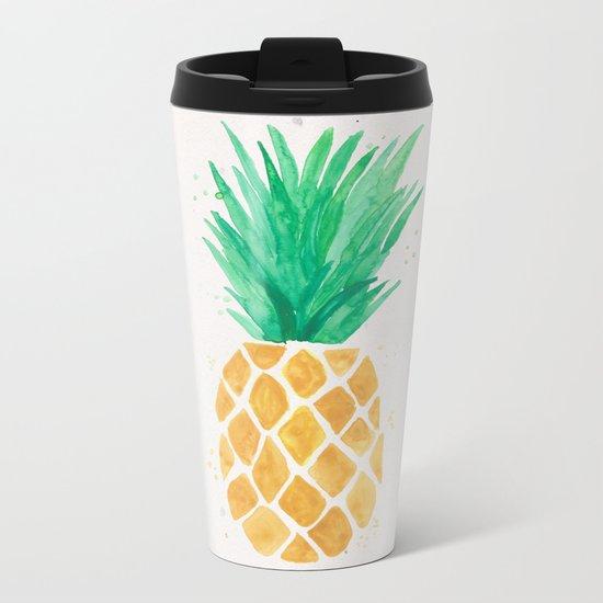 Watercolor Pineapple Metal Travel Mug