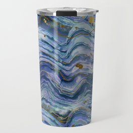 Blue Green Geode Watercolor Travel Mug