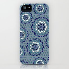 Blue lace Mandalas pattern iPhone Case