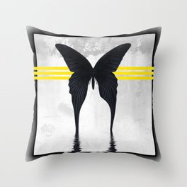 Blacked Out Butterfly Throw Pillow