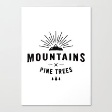 Mountains & Pine trees Canvas Print