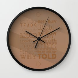 ONE DAY / RECKONING SONG Wall Clock