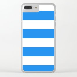 Wide Horizontal Stripes - White and Dodger Blue Clear iPhone Case
