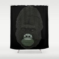 gorilla Shower Curtains featuring Gorilla by DarkChoocoolat