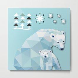 Polar Bear Mom Metal Print