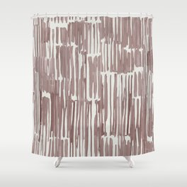 Simply Bamboo Brushstroke Red Earth on Lunar Gray Shower Curtain