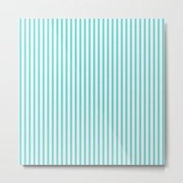 Classic Tiffany Aqua Blue and White Mattress Ticking Stripes Metal Print