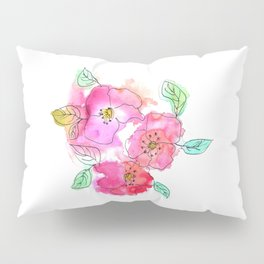 Pink Watercolor Flowers // Floral Feelings Pillow Sham