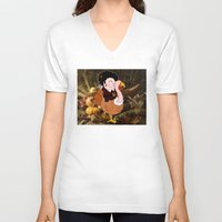 thanksgiving V-neck T-shirts featuring Thanksgiving turkeys by Afro Pig