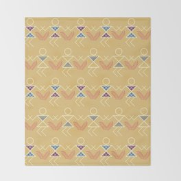 Summer Warli Print Throw Blanket