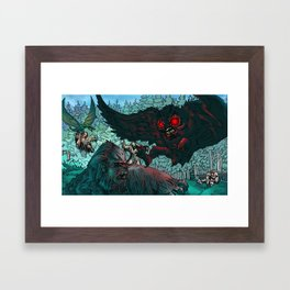 MOTHMAN DIVE BOMBING SASQUATCH Framed Art Print