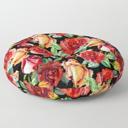 Hand painted black red watercolor roses floral Floor Pillow