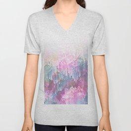 Magical Nature - Glitch Pink & Blue Unisex V-Neck
