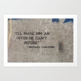 Corleone's offer. Art Print