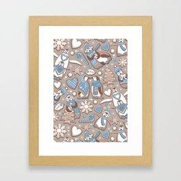 Penguin Christmas gingerbread biscuits V // brown silk background Framed Art Print