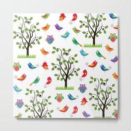 summer birds pattern Metal Print