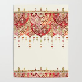 Royal Red Art Deco Double Drop Poster