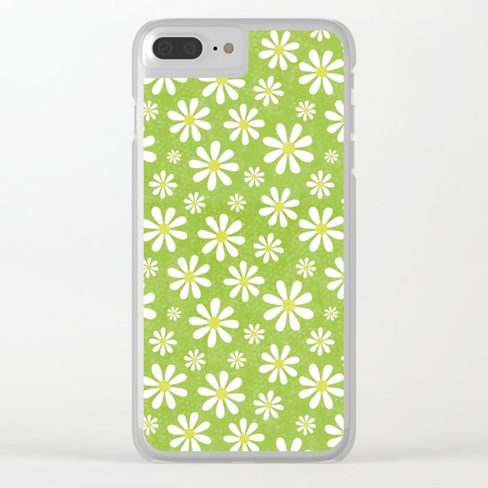DAISIES ON APPLE GREEN Clear iPhone Case