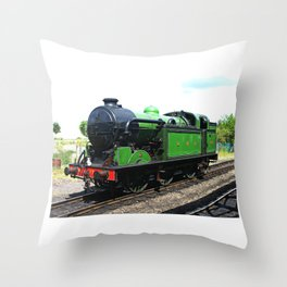 Vintage Steam railway engine Throw Pillow