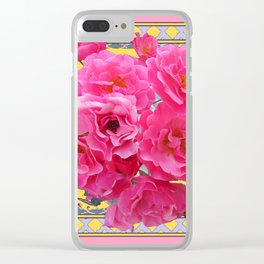 AWESOME PINK ROSES YELLOW-GREY LATTICE  DESIGN Clear iPhone Case