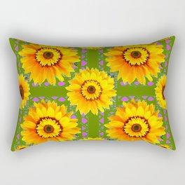 GEOMETRIC SUNFLOWERS AVOCADO-GREEN ART Rectangular Pillow