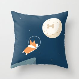 Fly to the moon _ navy blue version Throw Pillow
