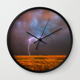 Ride the Lightning - Lightning and Rainbow Over Oklahoma Plains Wall Clock