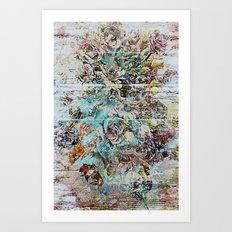 Grunge victorian floral Art Print