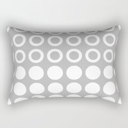 Mid Century Modern Circles And Dots Grey Rectangular Pillow