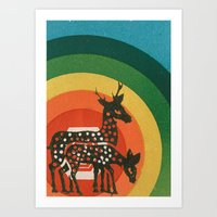 medicine Art Prints featuring Deer Medicine by Ben Blanchard