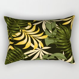 Summer seamless tropical pattern with bright leaves and plants on a black background. Modern abstract design for fabric, paper, interior decor. Tropical leaves in bright colors. Rectangular Pillow