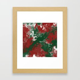 Christmas Madness Swirls In Red, White, and Green Framed Art Print