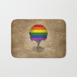 Vintage Tree of Life with Gay Pride Rainbow Flag Bath Mat