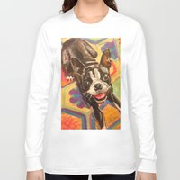 boston terrier Long Sleeve T-shirts featuring Boston Terrier by Good Artitude