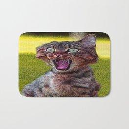 funny cat shocked Bath Mat