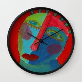 Funky Abstract Face Original Acrylic Painting Wall Clock