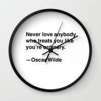 oscar wilde Wall Clocks featuring Oscar Wilde on Love by Quotevetica
