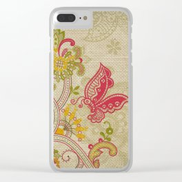 Raw Linen Texture Vines and Flowers // Art Nouveau Butterfly Clear iPhone Case