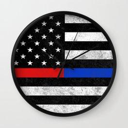 Fire Police American Flag Wall Clock