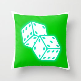 Two game dices neon light design Throw Pillow