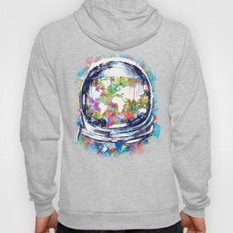 astronaut world map colorful Hoody