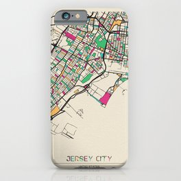Colorful City Maps: Jersey City, New Jersey iPhone Case