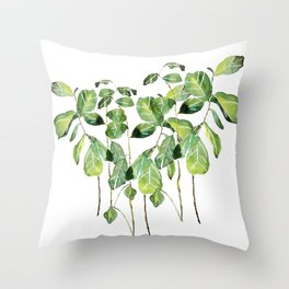 Fig tree watercolor  Throw Pillow